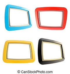 Glossy copyspace frames isolated on white