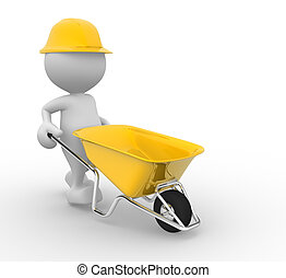 Wheelbarrow - 3d people - man, person with a wheelbarrow...