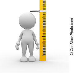 Kid - 3d people - man, person measuring his height.