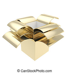 Stack of package parcel boxes isolated on white - Golden...