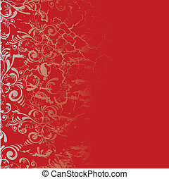 burnt tile - Red and silver tile background with a floral...