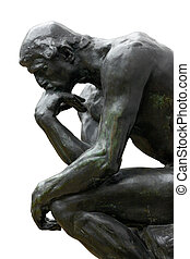 Rodin Thinker on white - Rodin Thinker isolated on white,...