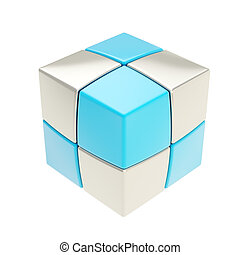 Copyspace cube of smaller silver an
