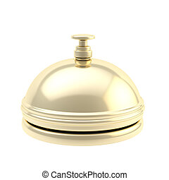 Golden reception bell with reflections isolated