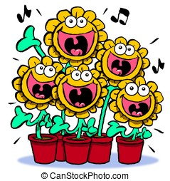 Singing sunflowers - Cartoon of singing sunflowers Isolated...