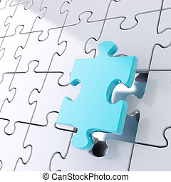 Puzzle jigsaw background with one piece stand out - Puzzle...