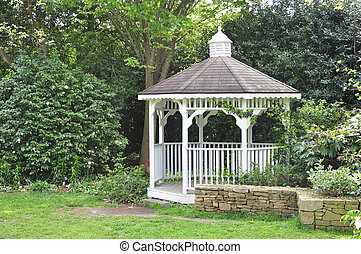 Garden Gazebo - Peaceful gazebo set in the shade of a mature...