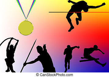 Athletics - Silhouette of men doing different sports