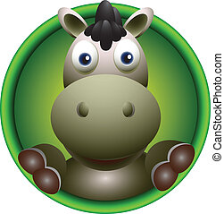cute donkey head cartoon - vector illustration of cute...