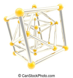 Cube carcass framework composition abstract background -...