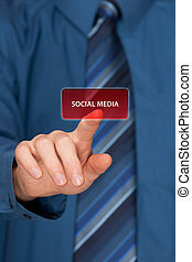 Social media concept Mans hand click on social media button...