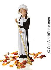 Pilgrim Girl Raking