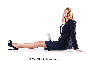 Woman with laptop on white