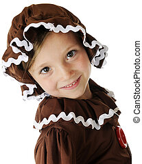 Happy Gingerbread Girl - Closeup image of a happy young...
