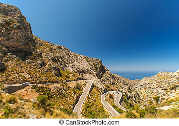 Winding road in mountain at Mallorca Island Spain - Winding...