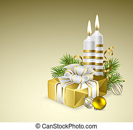 Cristmas background - Fir branches with Christmas gift,...