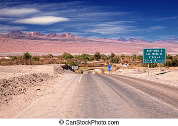 entrance road to San Pedro de Atacama, Chile - entrance road...