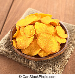 Sweet Potato Chips - Crispy Peruvian sweet potato chips on...