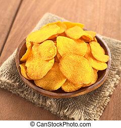Sweet Potato Chips - Crispy Peruvian sweet potato chips on...