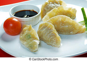 Dim-sum call Gyoza, asian tradition food.Fried Dumplings...