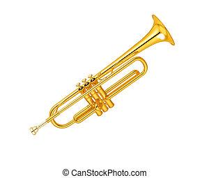 bronze, trompete, sobre, branca, fundo