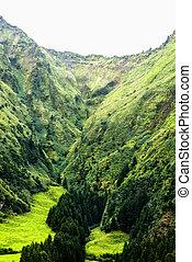 acores; sao miguel - sete cidades massif - green mountains...