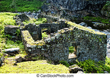 acores; old mill on flores island - remains of an old mill...