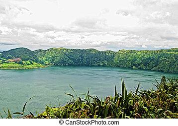 acores; sao miguel - sete cidades crater lakes - sao miguel,...