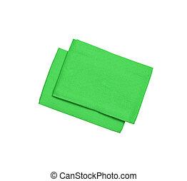 branca, guardanapos, verde, isolado, fundo