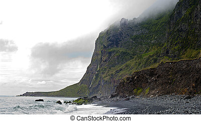 acores; - steep coast of faja de lopo vaz, south east coast...