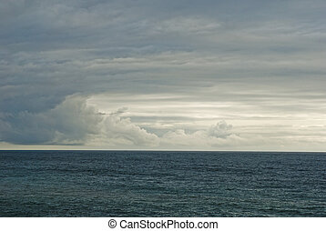 atlantic ocan with cloudy sky - straight picture of the...