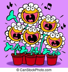 Singing Daisies. - Cartoon of singing daisies.