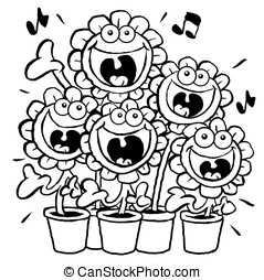 Singing Daisies.OL - Cartoon of singing daisies. Outline for...