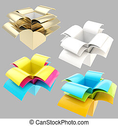 Package parcel boxes, set of four isolated - Colorful empty...