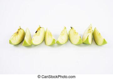 セット, 葉, アップル, 隔離された, 緑, 成果