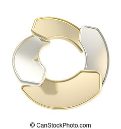 Circle frame emblem tag made of four glossy arrows isolated...