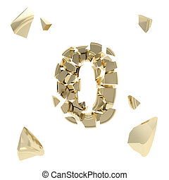 Abc alphabet symbol broken into tiny glossy pieces isolated...