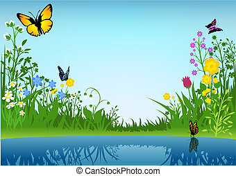 Small Lake and Butterflies - Background Illustration, Vector