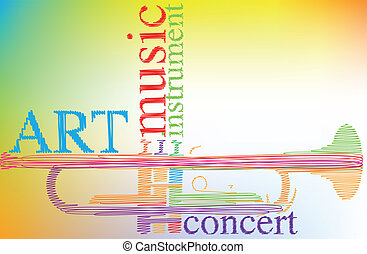 Abstract trumpet. Vector illustration