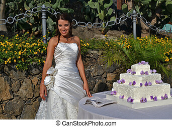 Bride - Smiling bride with wedding cake