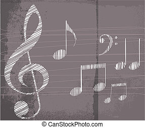 sketch of music notes. vector illustration