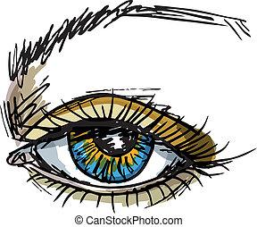 female blue eye. Vector illustration