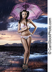 sexy brunette in full lenght with open umbrella - beautiful...
