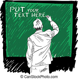 male writing something on board Vector illustration