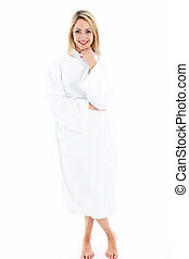 Attractive woman in bath robe - Attractive smiling woman...