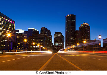 Boston streets by night, Massachusetts - USA