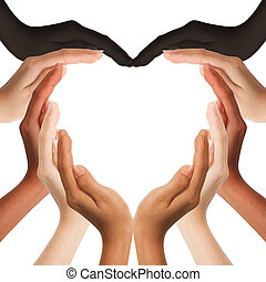 multiracial human hands making a heart shape on white...