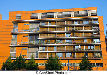 Modern building with balconies