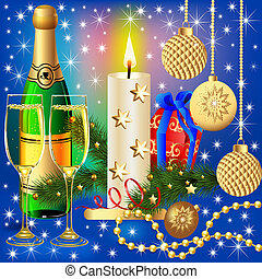 festive background with candle ball and gift - illustration...