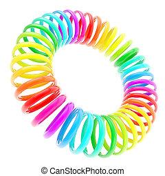 Rainbow colored circle torus composition isolated - Rainbow...